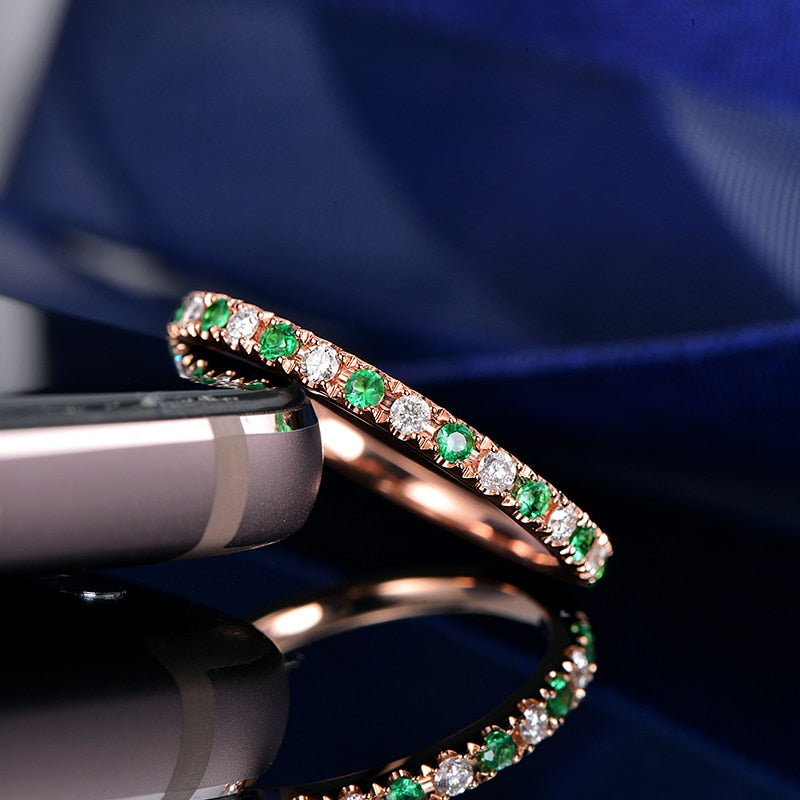 0.12ct Natural Healing Diamonds and 0.12ct Authentic Emeralds on 14K Solid Rose Gold Band Ring