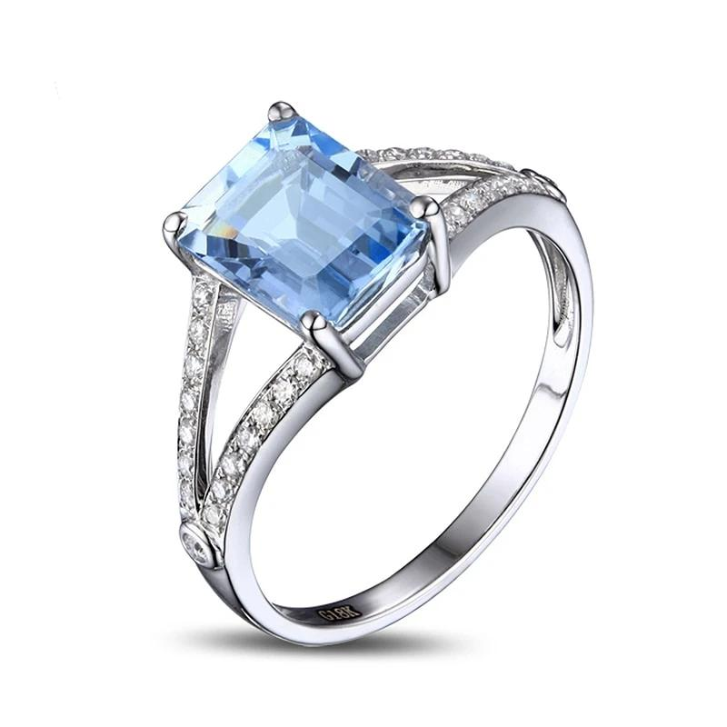 2.42ct Authentic Healing Aquamarine and Genuine Diamonds on 14k Solid Gold Ring