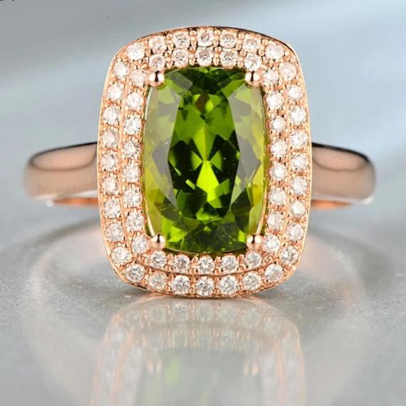 3.27ct Natrual Healing Peridot with Authentic Diamonds on 14K Solid Rose Gold Ring