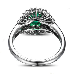 14k Solid White Gold Ring with Authentic 1.1ct Healing Emerald and 0.48ct Genuine Diamonds