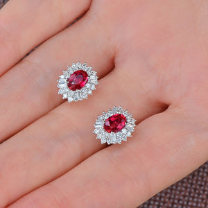 Authentic Healing 1.18ct Ruby with 0.62ct Genuine Diamonds on 14K Solid White Gold Earrings