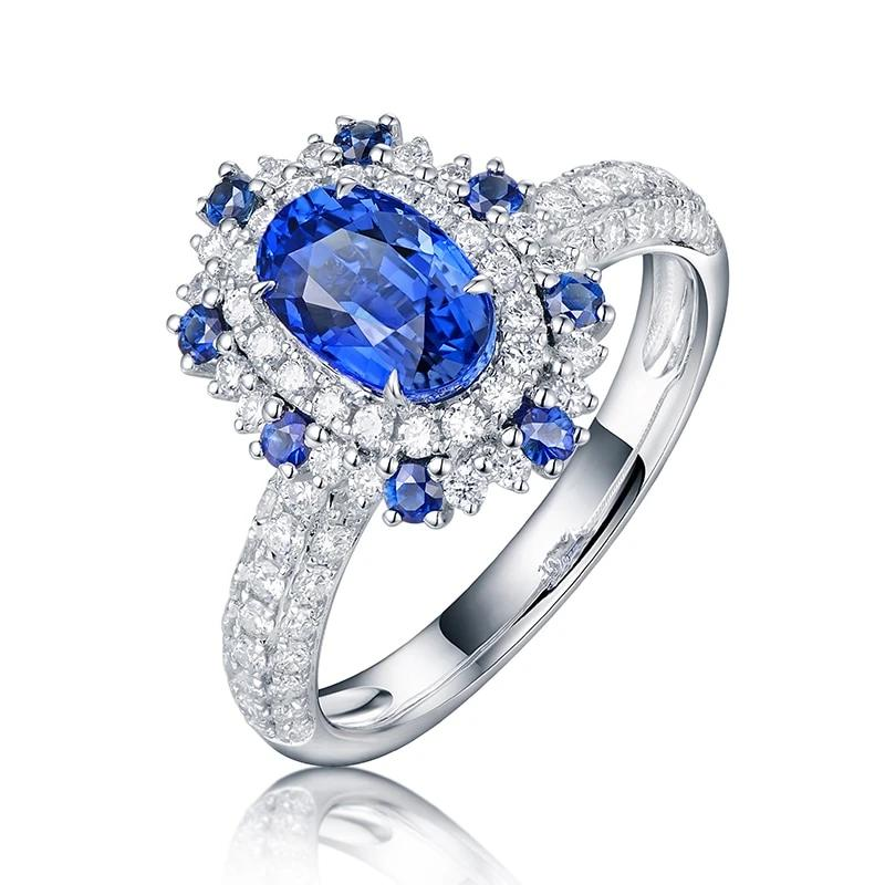 1.57ct Natural Healing Sapphire with Genuine Diamonds on 18K Solid White Gold Ring