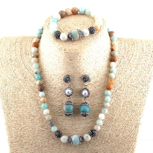 Authentic Healing Amazonite Stones Jewelry Set