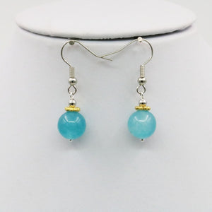 Shining Blue Amazonite Stones Jewelry Set Necklace / Earring