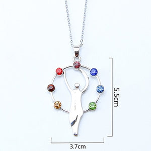 7 Chakra Stones Reiki Healing Rhinestone Crystals Beautiful Pendant Necklace