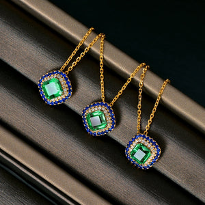 Authentic Healing Emerald with Natural Diamonds and Genuine Sapphires on 14k Solid Yellow Gold Pendant