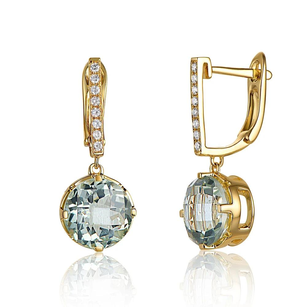 14K Solid Gold Earring with 3.21ct Genuine Healing Green Amethyst & 0.10ct Real Diamonds