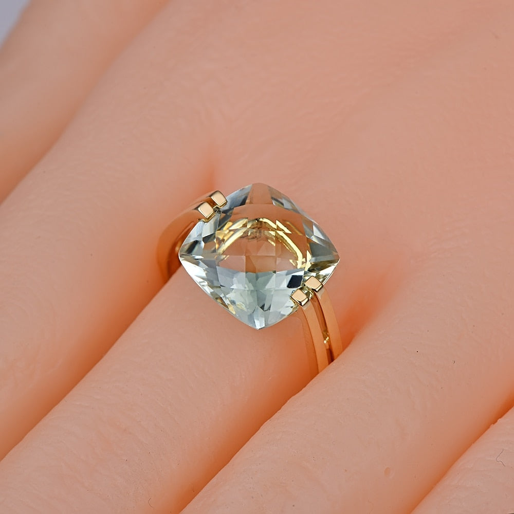 6.6ct Natural Healing Green Amethyst on 14K Solid  Gold Ring