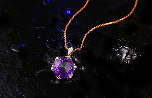 14K Solid Gold 6.71ct Natural Healing Amethyst Genuine Diamonds Pendant