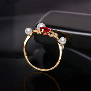14k Solid Gold Ring Natural Healing 0.44ct Ruby with Genuine Pearls and Diamonds