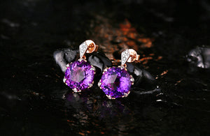 8.4ct Natural Healing Amethyst with 0.10ct Genuine Diamonds on 14k Solid Gold Earrings