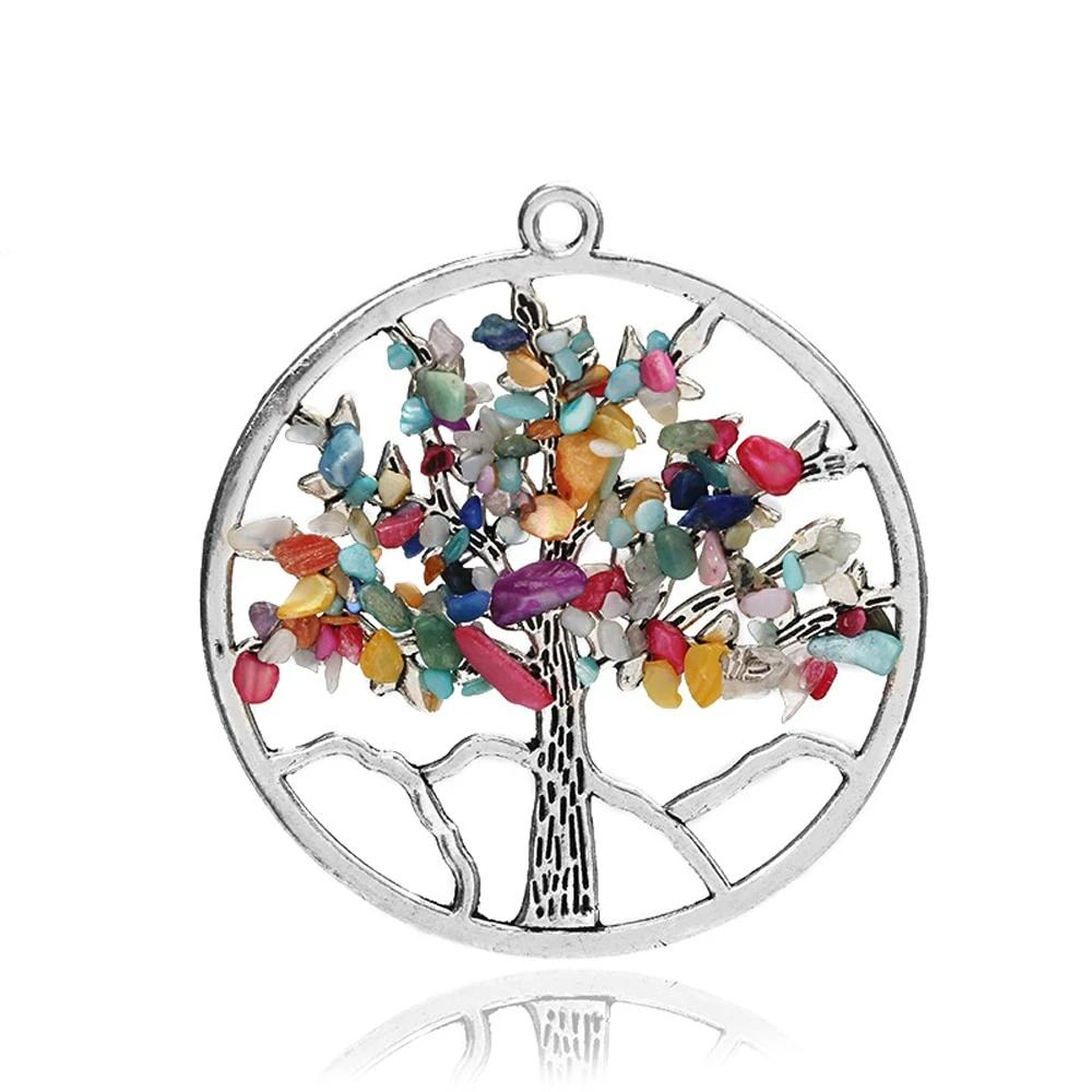 New Design 7 Chakra Tree Of Life Pendant Necklace Genuine Healing Stone