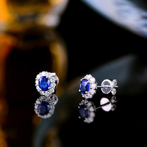 0.76ct Genuine Healing Sapphire with 0.38ct Diamonds on 14K Solid White Gold Earrings