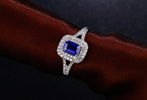 14k Solid White Gold Ring with 0.84ct Natural Healing Sapphire & 0.36ct Genuine Diamonds