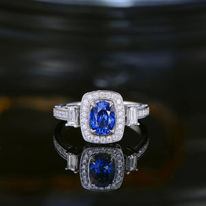1.15ct Natural Healing Sapphire on 18k Solid White Gold Ring with 0.88ct Genuine Diamonds