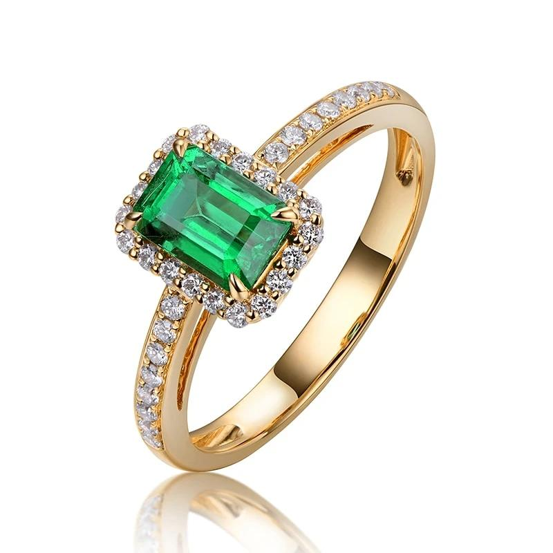 14k Solid Yellow Gold Ring with 0.55ct Authentic Healing Emerald and Natural Diamonds Ring