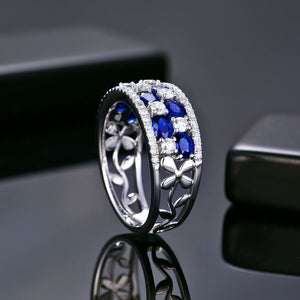 14k Solid White Gold Ring Band with 1.88ct Genuine Healing Sapphires & 0.65ct Natural Diamonds