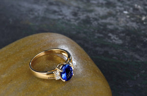 14k Solid Yellow Gold Ring with Natural Healing 1.1ct Tanzanite & Genuine Diamonds