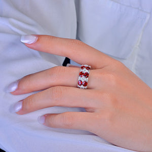 3.83ct Authentic Healing Ruby with Genuine Diamonds on 14K Solid White Gold Ring