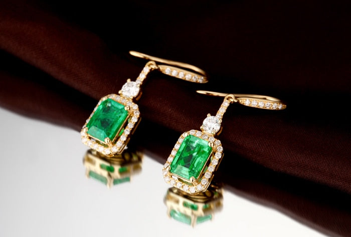 14K Solid Gold Earring with 1.76ct Authentic Healing Emerald and Genuine Diamonds