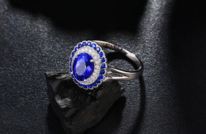 1.15ct Real Healing Tanzanite Genuine Sapphires & Diamonds on 14K Solid White Gold Ring