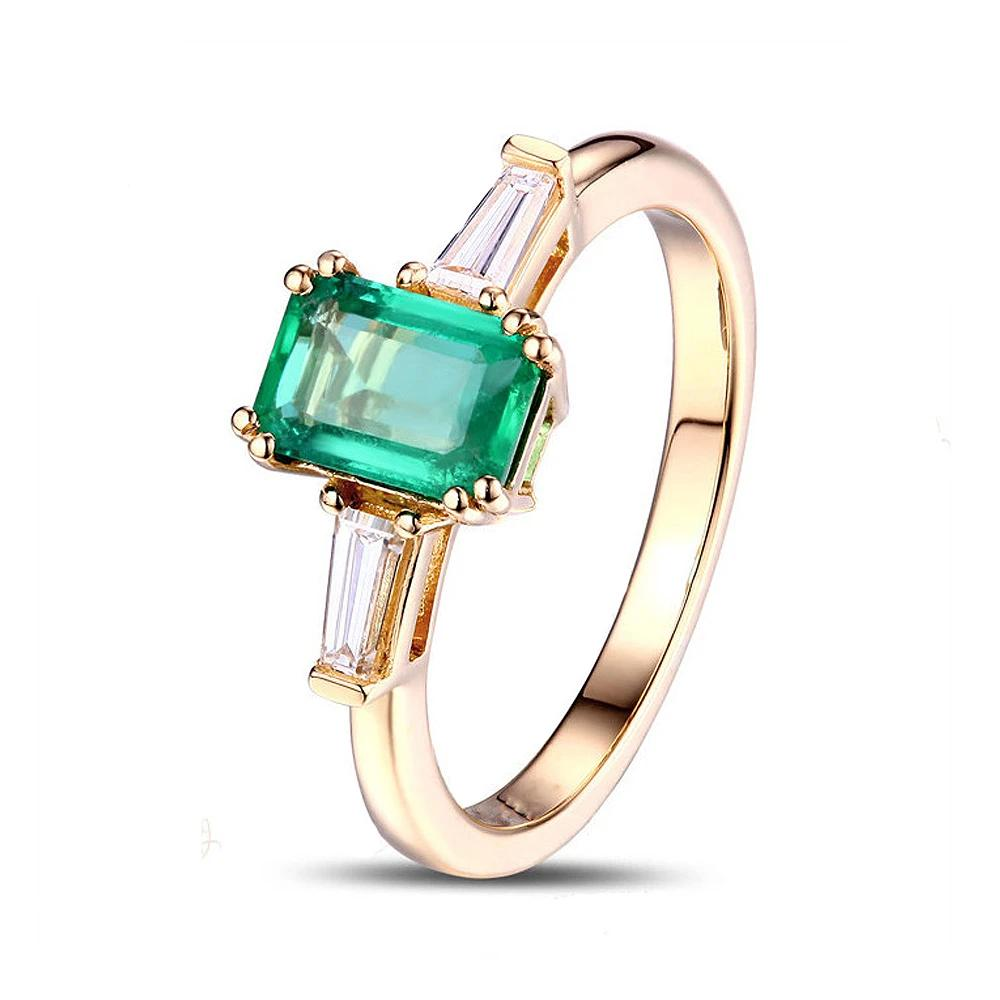 14k Solid Gold Ring with 0.62ct  Authentic Healing Emerald and Natural Healing Diamonds