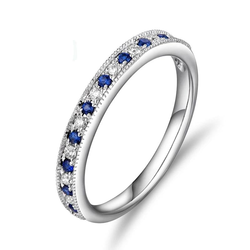 14K Solid White Gold Band Ring with 0.13ct Genuine Healing Sapphires & 0.09ct Natural Diamonds