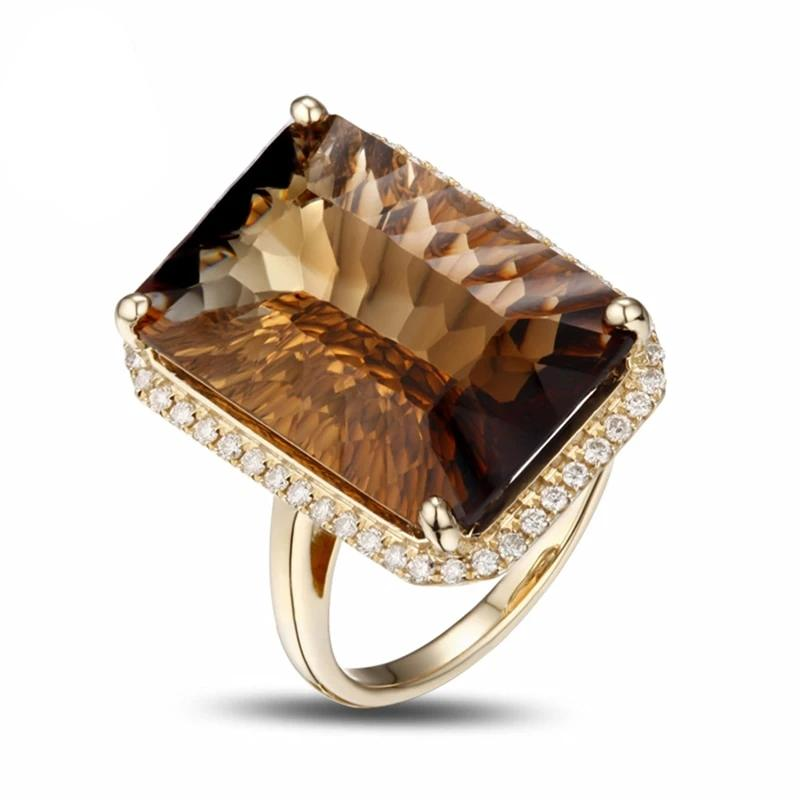 14K Solid Yellow Gold 17.8ct Genuine Healing Smoky Topaz and Diamonds Ring