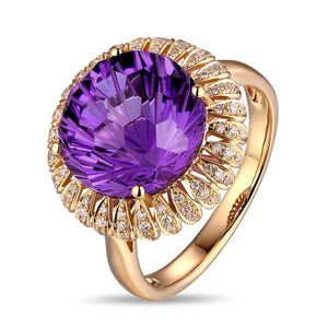 6.85ct Healing Genuine Amethyst on 14K Solid Gold Ring with 0.23ct Natural Diamonds