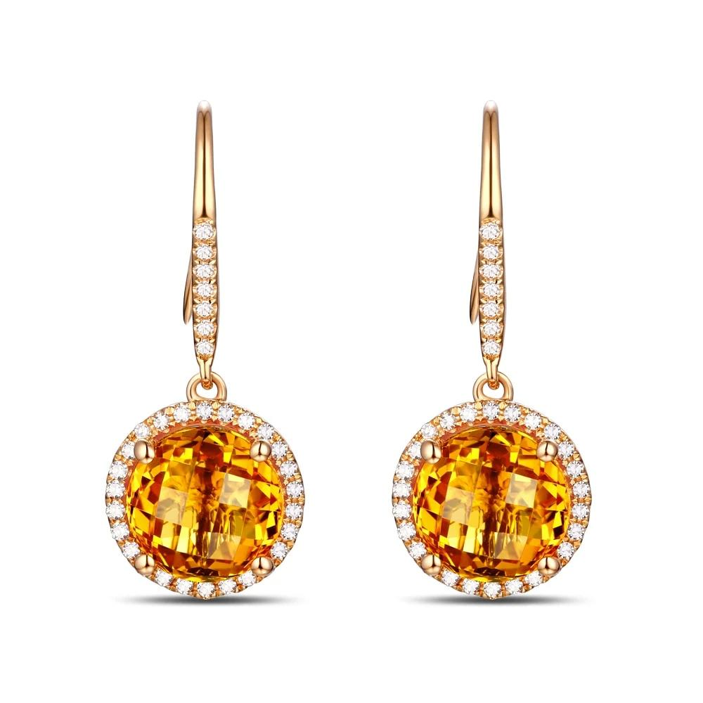 14K Solid Yellow Gold Earring 3.32ct Natural Healing Citrine & 0.30ct Genuine Diamond