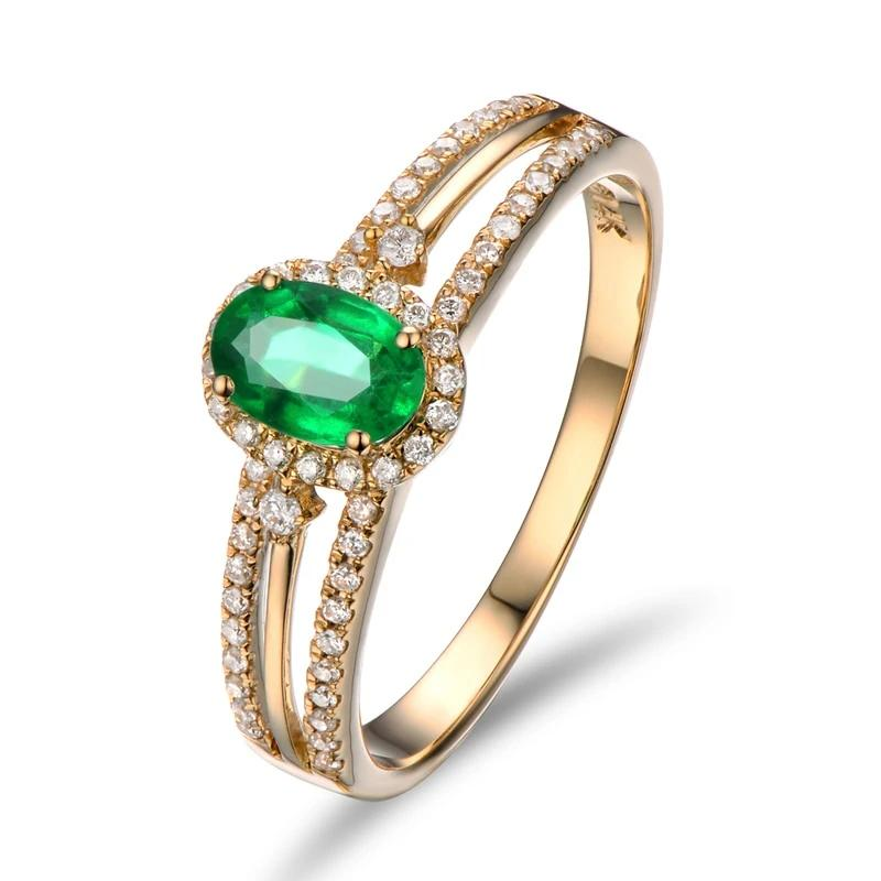 14k Solid Yellow Gold Ring with 0.65ct Natural Healing Emerald and Genuine Diamonds