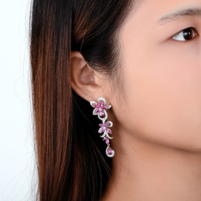 Gorgeous Natural Healing Pink Sapphire on 18k Solid White Gold Dangle Earrings Accented by Diamonds
