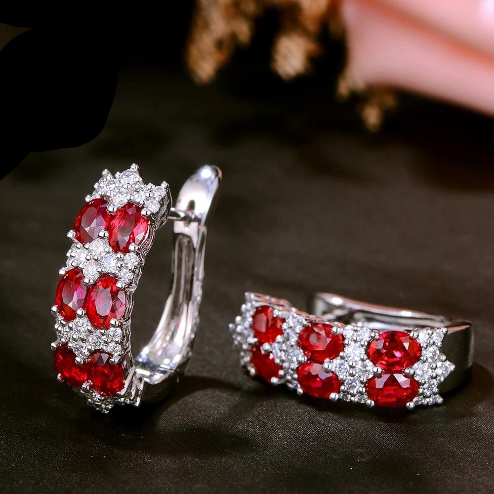 Authentic Healing 2.59ct Ruby with 0.74ct Genuine Diamonds on 18k Solid White Gold Earrings