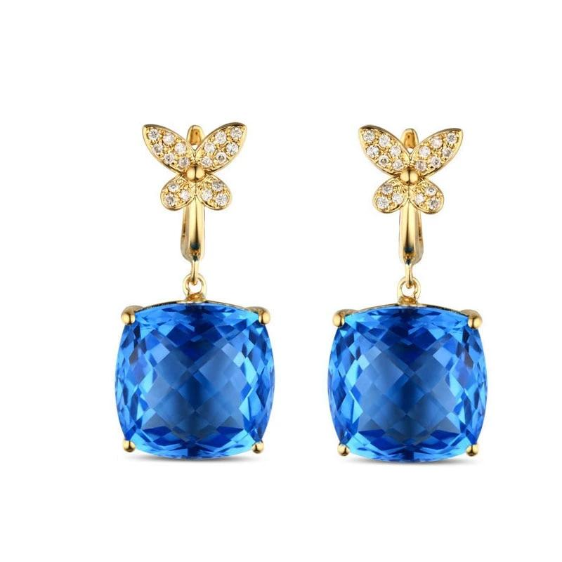 18.06ct Authentic Healing Blue Topaz with Diamonds on 14k Solid Gold Drop Earrings