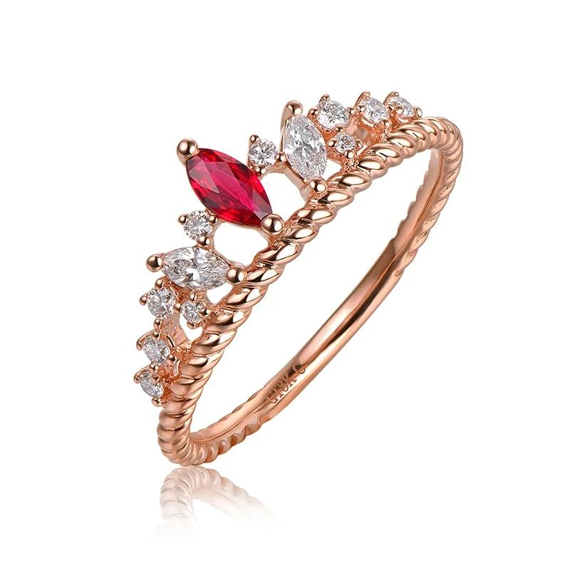 14K Solid Rose Gold Crown Ring with Authentic Healing Ruby and Genuine Diamonds