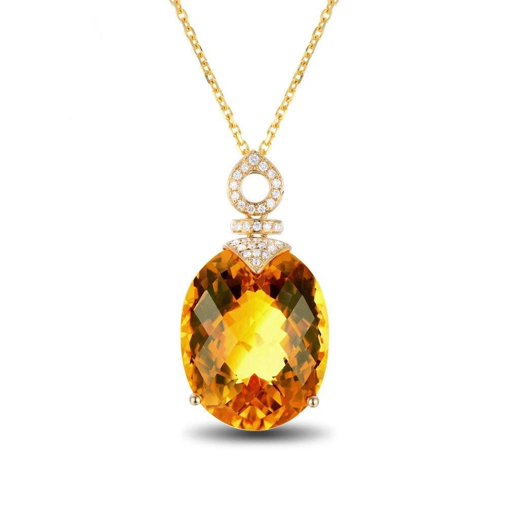 14k Solid Yellow Gold 16.35ct Genuine Healing Citrine & 0.15ct Natural Diamonds Accented Pendant