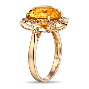 Sun Shape Natural Healing 7.05ct Citrine with Diamonds on 14K Solid Yellow Gold Ring