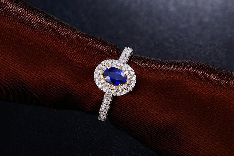 Natural Healing 0.64ct Sapphire & 0.48ct Genuine Diamonds on 18K Solid Multi-tone Gold Ring