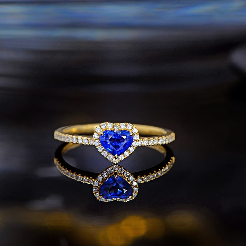 0.60ct Natural Healing Sapphire on 14k Solid Yellow Gold Ring with Genuine Diamonds