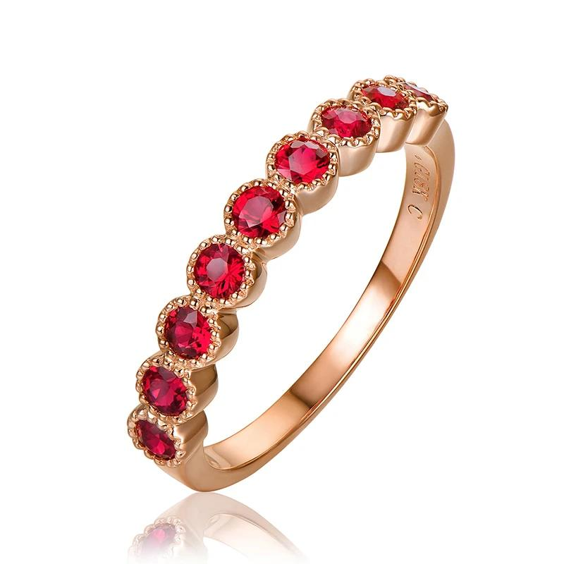0.72ct Authentic Healing Ruby on 14k Solid Rose Gold Half Eternity Band Ring
