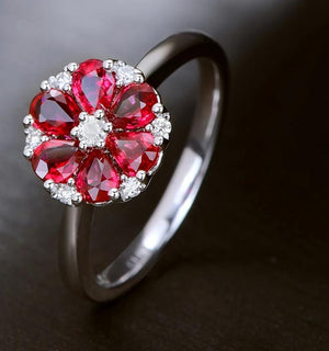 14k Solid White Gold Ring with 0.93ct Natural Healing Ruby and Authentic Diamonds