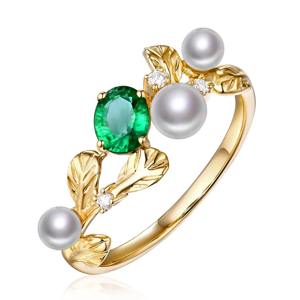 14k Solid Yellow Gold Ring with Authentic Healing 0.32ct Emerald and Genuine Pearls & Diamonds