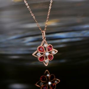 Natural Healing 0.83ct Ruby and Authentic Diamonds on 14k Solid Rose Gold Pendant Including Chain