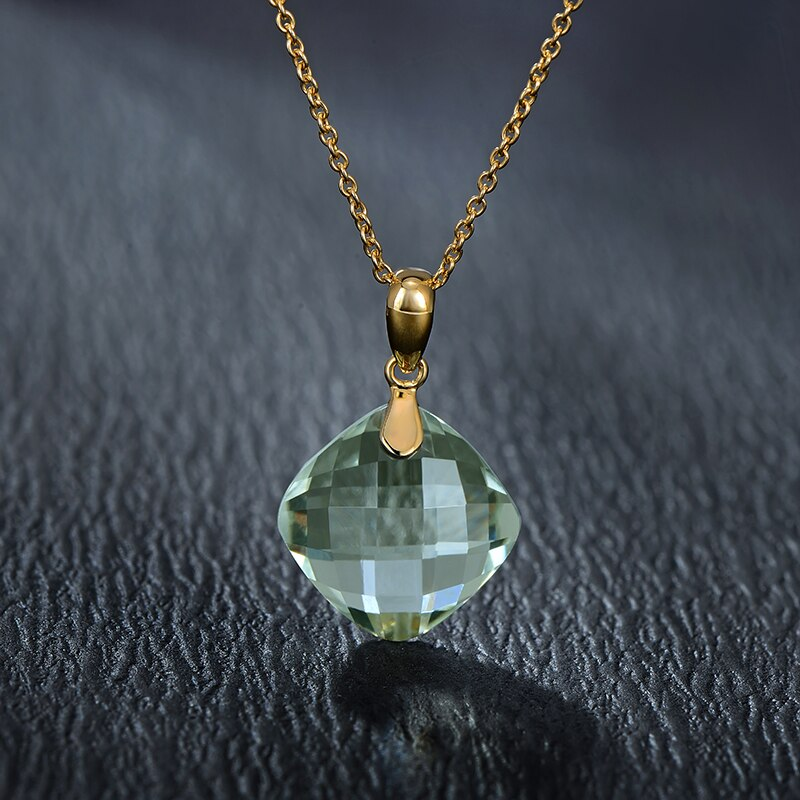 7.75ct Genuine Healing Green Amethyst on Solid 14K Yellow Gold Pendant