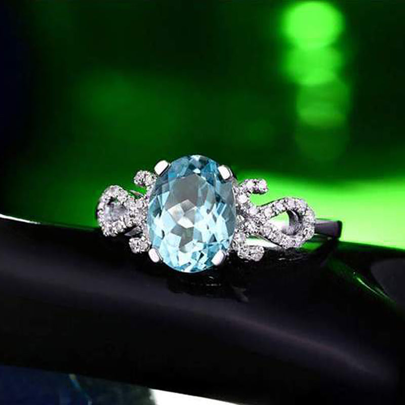 1.06ct Natural Healing Aquamarine on 14k Solid White Gold Ring and Authentic Diamonds
