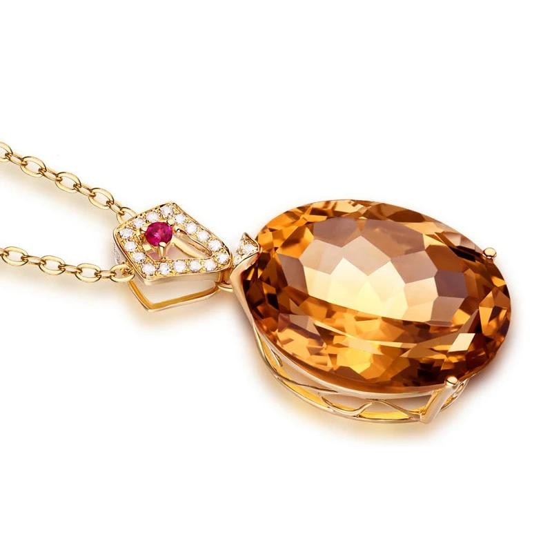 14K Solid Gold Pendant 17.71ct Natural Healing Citrine with Genuine 0.11 Diamonds & Red Tourmaline