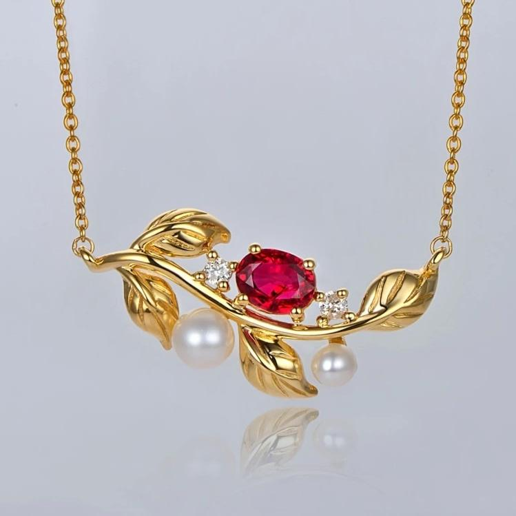 14K Solid Gold Pendant Natural Healing 0.51ct Ruby with Genuine Pearls and Diamonds