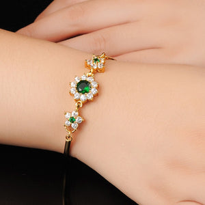 Real Healing Cubic Zirconia Gems on 14K Gold Plated Bracelet