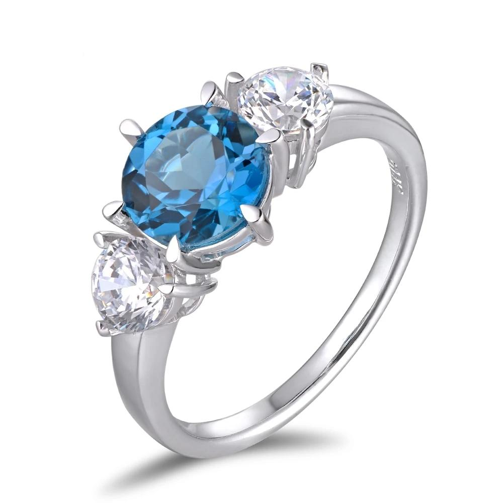 14K Solid White Gold Ring with 2.2ct Natural Healing Topaz and Cubic Zirconia