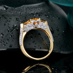 Amazing 14k Solid Yellow Gold Natural Healing 1.96ct Citrine & Diamond Three stones Ring